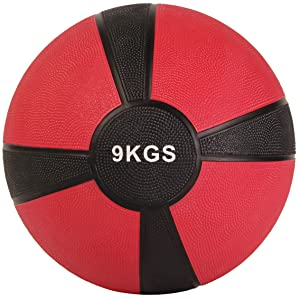 POWRX - Balón Medicinal 9 kg + PDF Workout (Rojo Oscuro): Amazon ...