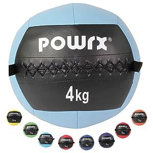 POWRX Wall Ball Balón Medicinal 4 kg - Ideal para Ejercicios de ...