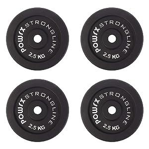 POWRX Discos pesas hierro fundido 10 kg set (4 x 2,5 kg) - Ideales ...