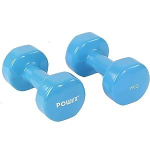 POWRX - Mancuernas Vinilo 14 kg Set (2 x 7 kg) + PDF Workout ...
