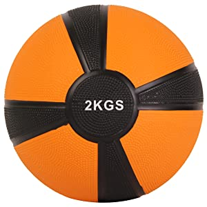 POWRX - Balón Medicinal 2 kg + PDF Workout (Naranja): Amazon.es ...