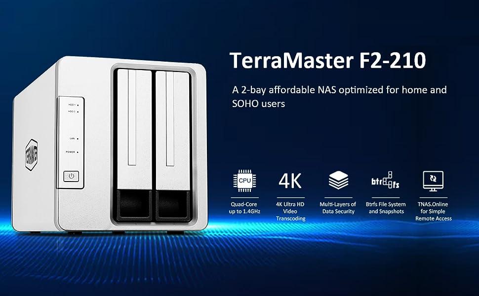 TerraMaster F2-210 Servidor NAS Multimedia de Almacenamiento en la Nube Personal de Dos bahías y Cuatro núcleos y transcodificación 4K (sin Discos)