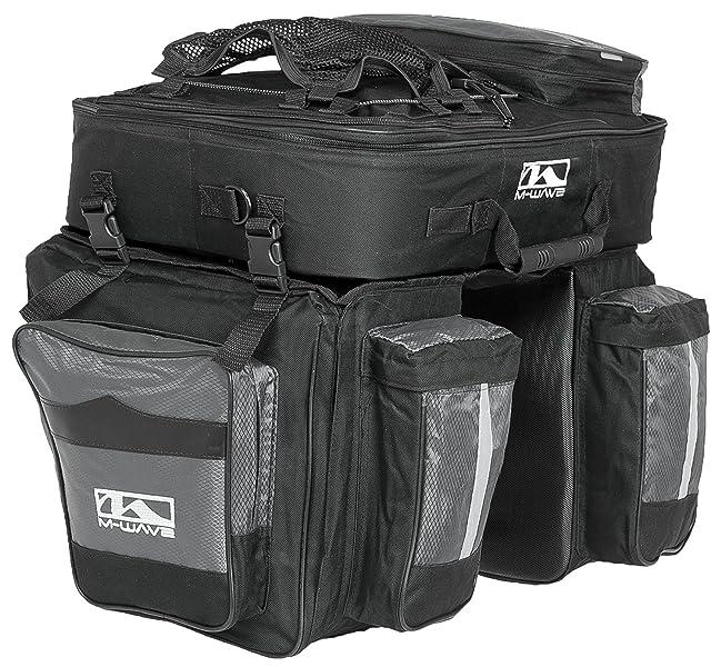 M-Wave Traveller - Alforjas para portaequipajes de bicicleta 3 compartimentos, 62 L, color negro y gris. 4 kg: Amazon.es: Deportes y aire libre