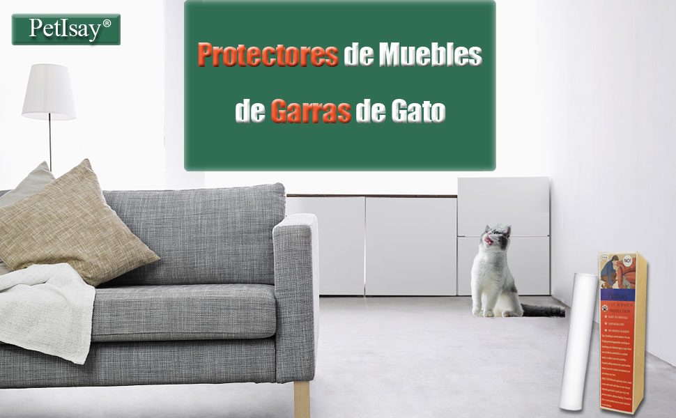 Rasguño de Gato Protectores de Muebles(4 Piezas, 46cm x 20.5cm), Protector de Sofá contra Arañazos de Gato, Cinta Autoadhesivas con Pasadores ...