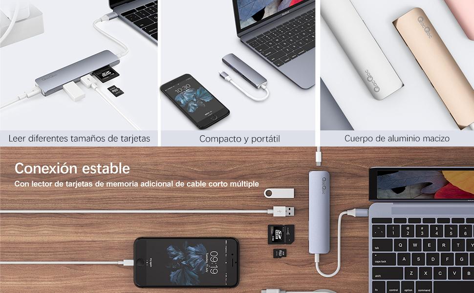 QacQoc USB c Hub, Puerto de Carga USB C, 2 Puertos USB 3.0, Lector ...