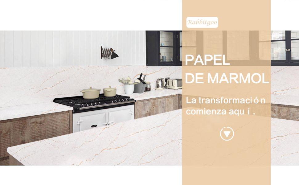 Rabbitgoo Papel Adhesivo para Muebles Mármol Adhesivo Pegatina ...