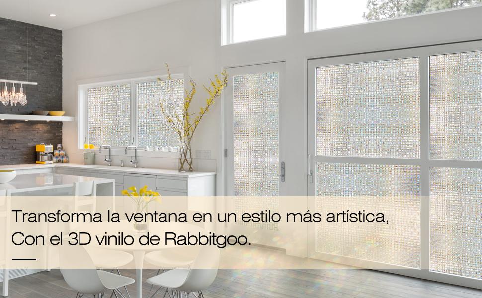 rabbitgoo Vinilos para Ventanas Privacidad 3D Laminas Translucido ...