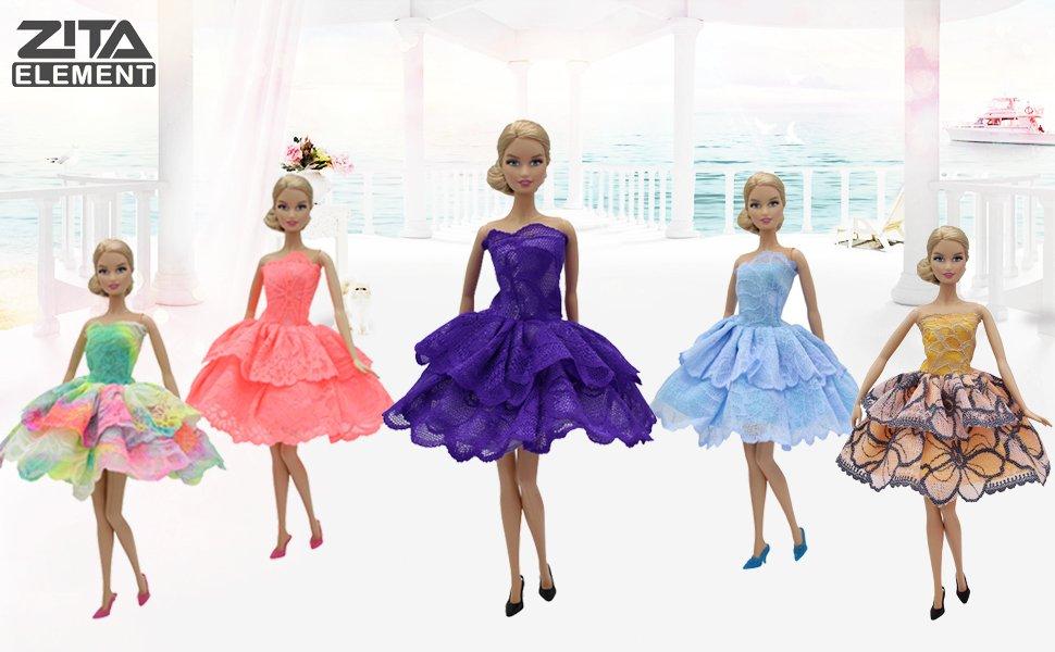 Amazon.es: ZITA ELEMENT 10 Piezas de muñecas para 5 Vestido de Noche ...