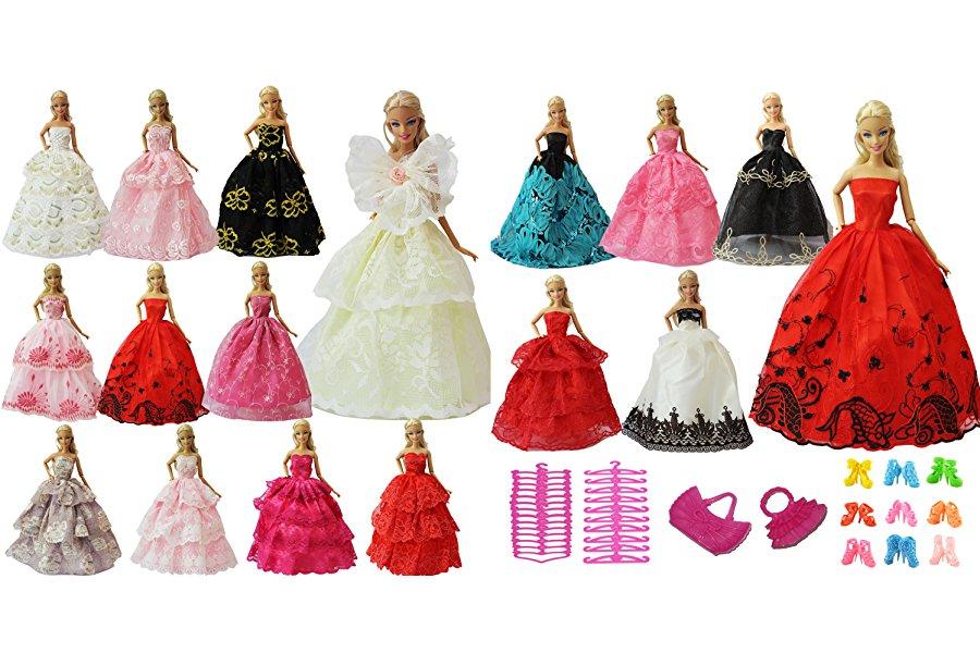 Volumen de suministro: Vestidos de fiesta de 5 piezas con 5 pares de zapatos con colgador de 3 piezas y bolso de 2 manos para muñecas Barbie Los accesorios ...