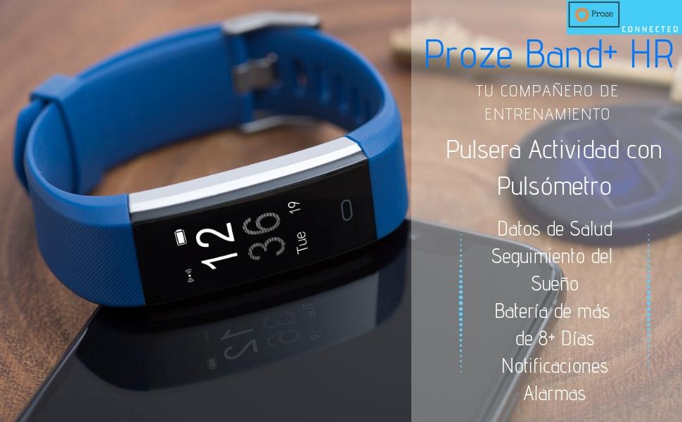 Proze Band+ Pulsera Actividad con Pulsómetro Deportiva Fitness Tracker