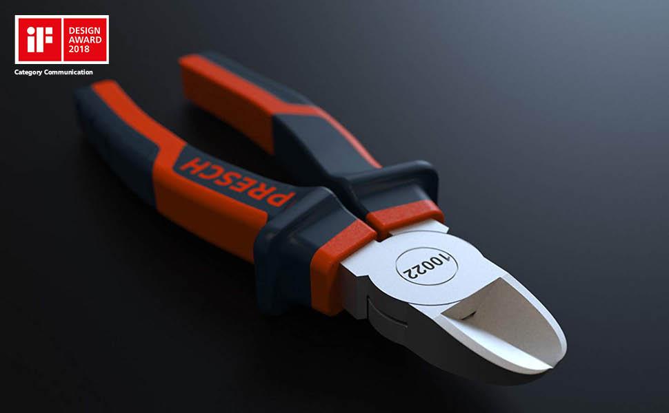 Presch alicates de corte diagonal 160 mm rectos - alicates profesionales endurecidos mango multicomponente alambre