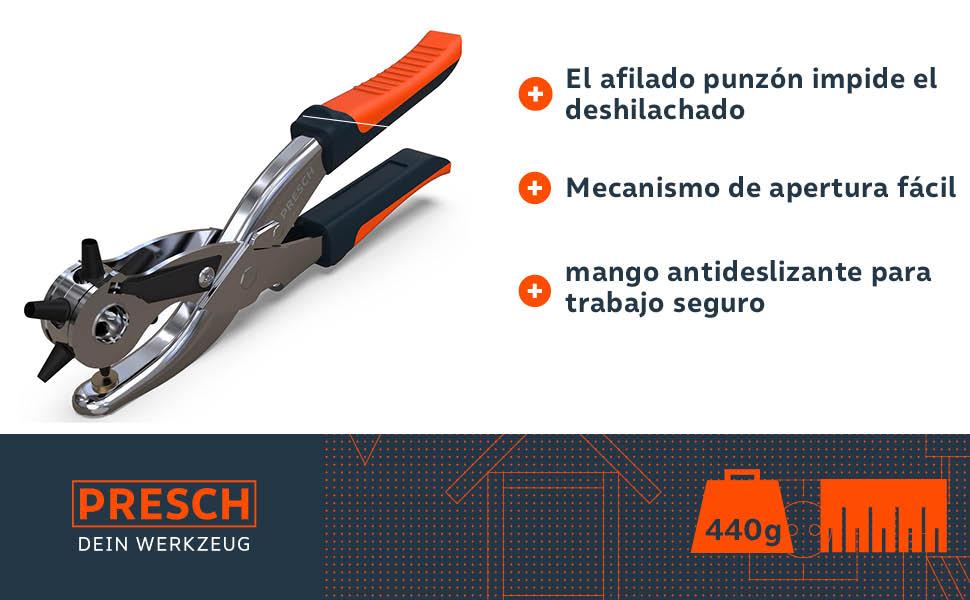 Presch Alicates de Agujero - Alicates Sacabocado Agujero Perfora Cuero, Tela, Cartón, Cinturones - Perforadora Profesional con 6 Puntas