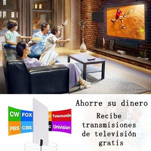 Antena de TV, Kiirie de Interior y amplificada de HDTV Antena, 80 kilómetros de Alcance con Amplificador de señal Desmontable (Doble Chip Inteligente) y 3m de Cable Coaxial: Amazon.es: Electrónica