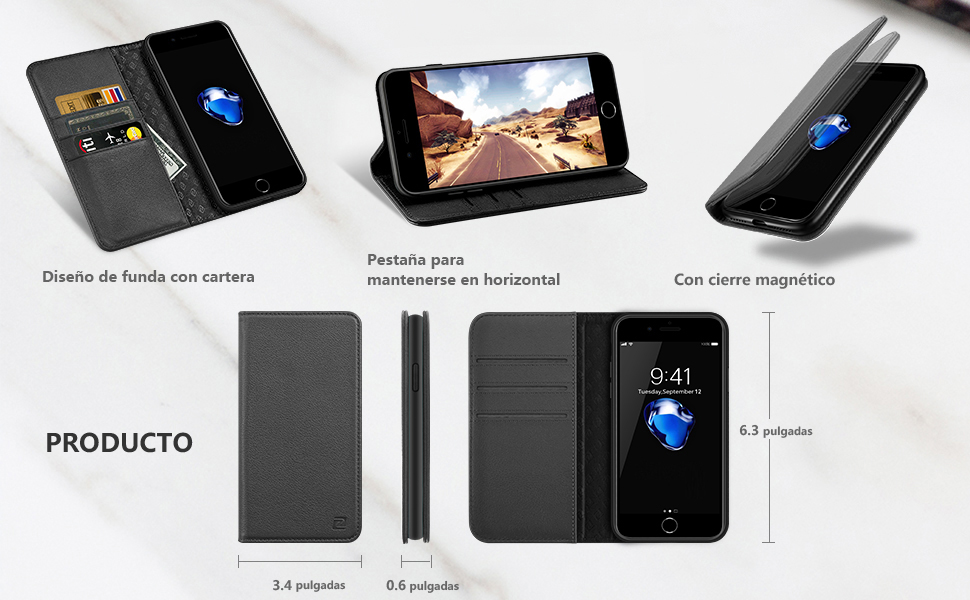 ZOVER Funda iPhone 8 Plus iPhone 7 Plus, Funda de Cuero Genuinocon ...