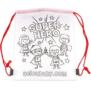 mochila non woven niños colorear regalo fiesta cumpleaños original saludable reutilizable aeioubaby
