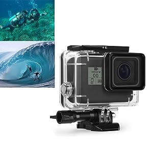 SOLO encaja la GoPro Hero 6/5 Black. * El material de alta transmitancia proporciona la máxima nitidez por encima y debajo del agua, sumergible hasta 45 ...