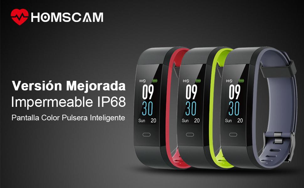 HOMSCAM Pulsera Inteligente, Pulsera Actividad Impermeable IP68 ...