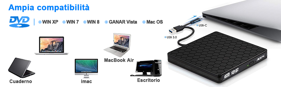 Grabadora DVD/CD Externa,ACEPC Tipo-C Superdrive Unidad de CD DVD para PC Portátil USB 3.0 CD Externo DVD +/- Grabadora RW Grabadora Compatibilidad ...