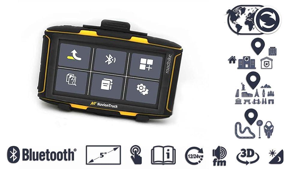 Navion Roadbike - Navegador GPS de Moto con pantalla de 5 pulgadas táctil resistiva para utilizar con guantes, Bluetooth, Wifi, Android y SD 32GB