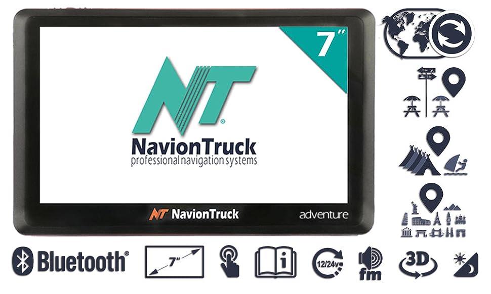 Navion Adventure - Navegador GPS para Caravana y Autocaravana con WiFi, Bluetooth, pantalla de 7 pulgadas táctil capacitiva, batería 2000mAh y tarjeta de ...