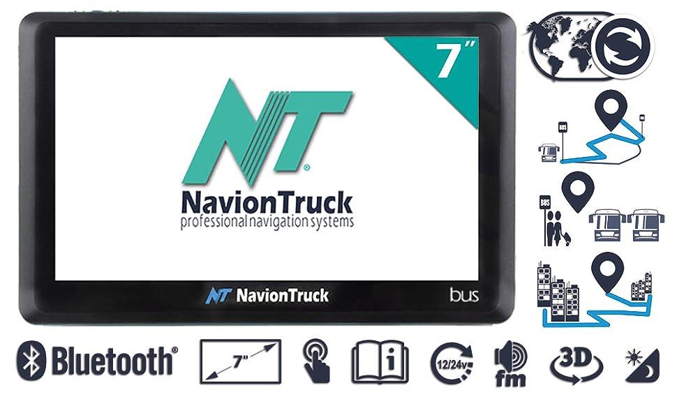 Navion Bus - Navegador GPS para Autobús con WiFi, Bluetooth, pantalla de 7 pulgadas táctil capacitiva, batería 2000mAh y tarjeta de memoria de 32Gb