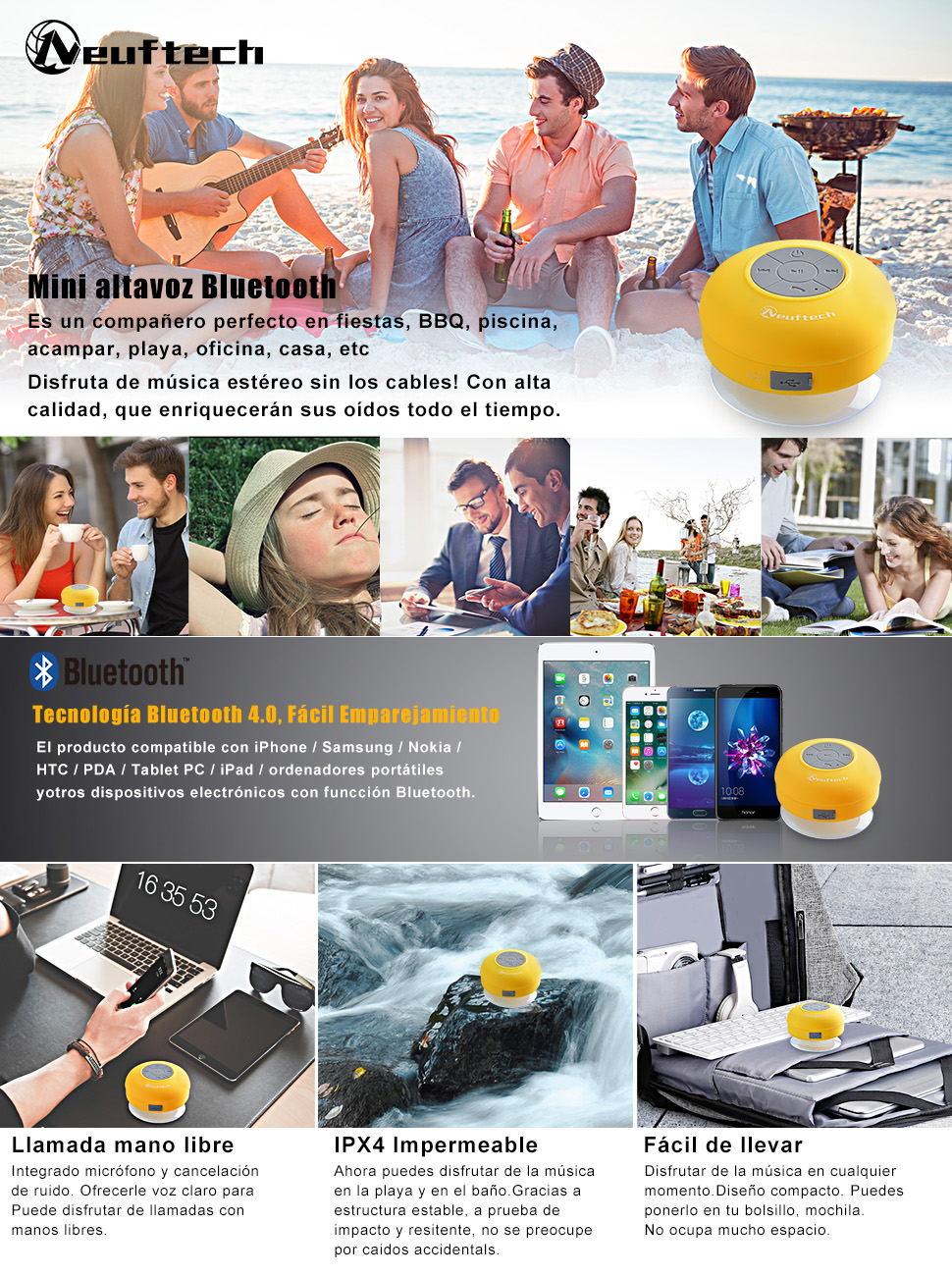 Neuftech Altavoz Bluetooth 3.0 Impermeable Sonido estéreo con Ventosa para Ducha Piscina etc(Amarillo): Amazon.es: Electrónica