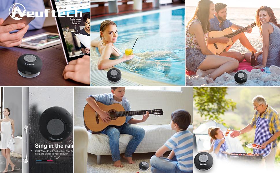 Neuftech Altavoz Bluetooth 3.0 Impermeable Sonido estéreo con ...