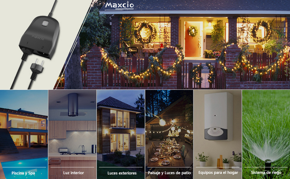 Enchufe Inteligente Exterior, Maxcio 2 en 1 Enchufe WiFi ...