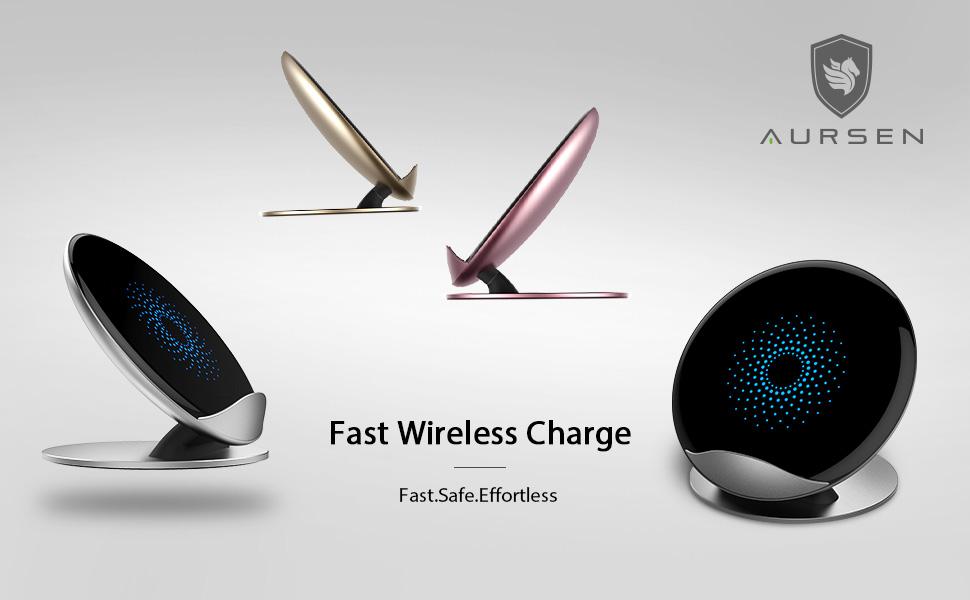 Cargador Inalámbrico Rápido, AURSEN 10W Qi Wireless Charger para Samsung Galaxy S9+/S9/Note9/S8+/S8/Note8/S7 /S6,7.5W Aluminio Carga Rápida Estándar ...