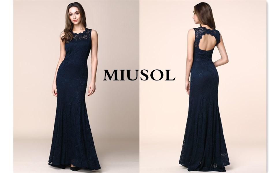 a499f2446 Miusol Elegante Encaje Fiesta Vestido Largos para Mujer  Amazon.es ...
