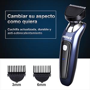 Máquina eléctrica con 3 cabezales se puede afeitar la barba, cortar pelos y recortar vellos de nariz y orejas. Dos peines de guía(3 y 6mm), ...