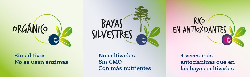 El Zumo orgánico de arándano azul silvestre (Bilberry) de 500 ml de LOOV: contiene flavonoides, 100% obtenido directamente de bayas exprimidas, sin ...