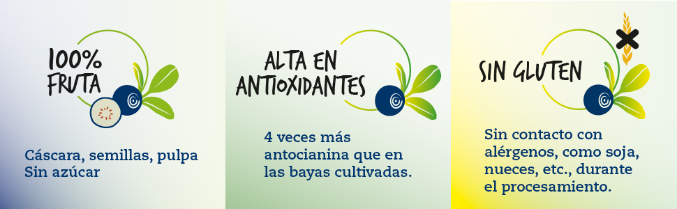 100% fruta, Sin azúcar agregada, Alta en antioxidantes, Sin Gluten
