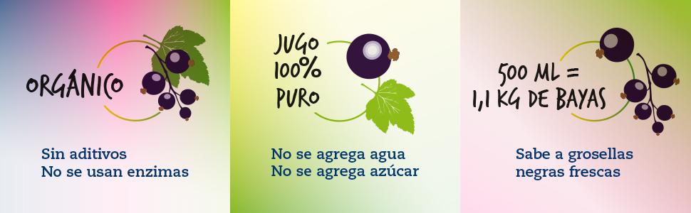 Jugo de grosella negra: jugo orgánico, 500 ml de LOOV al 100 ...