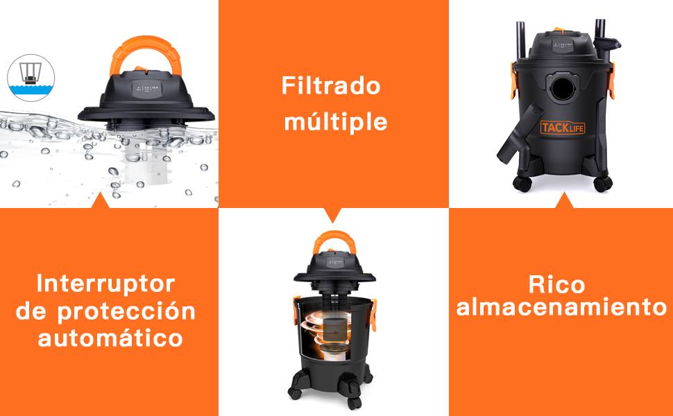 TACKLIFE Aspirador Húmedo y Seco, 18.9L Aspiradora Hogar 1000W ...