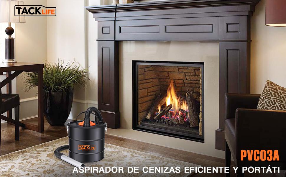 TACKLIFE Aspirador de Cenizas, 800W, 18L Colector de Polvo ...