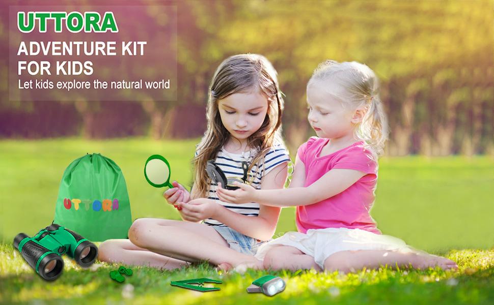 UTTORA Kit de Binoculares para Niños, Kit de Exploración para Niños 7 en 1, Prismáticos, Linterna LED de Mano, Brújula, Lupa, Silbato, Mochilla de Colección, Juego de Explorador para Niños (Green): Amazon.es: