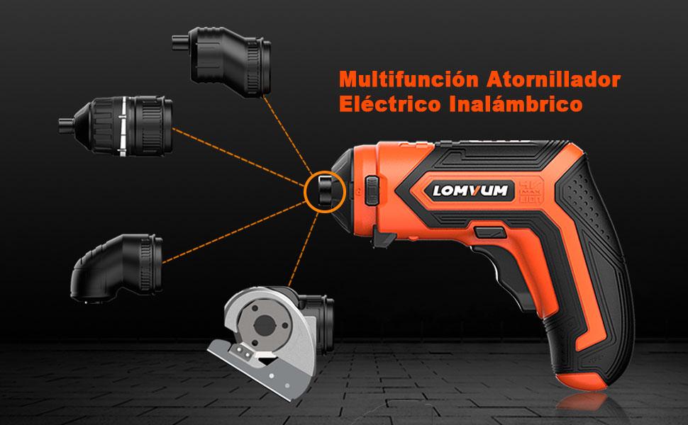 Atornillador Eléctrico Inalámbrico,LOMVUM LV401 4V Destornillador Pequeño Recargable,1.5Ah Batería de Litio con Indicador de Batería Par Máximo: ...