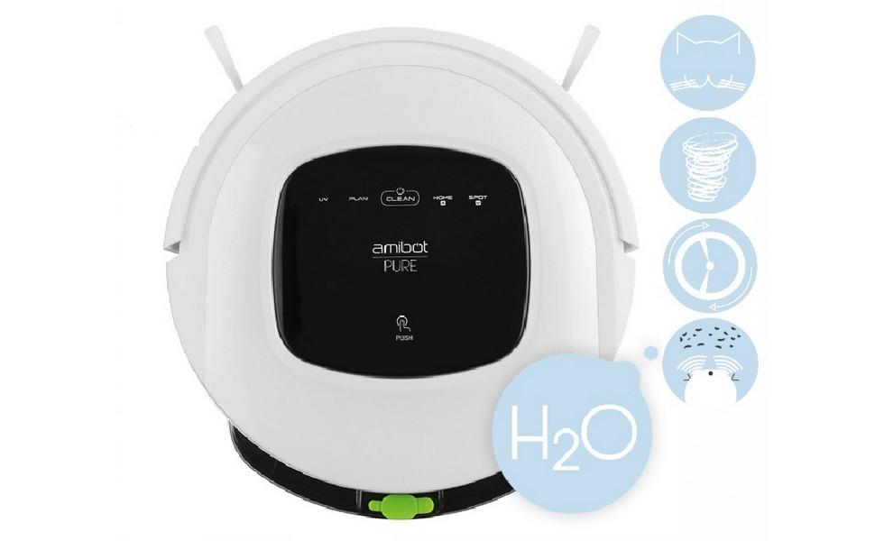 AMIBOT Pure H2O es un robot doméstico híbrido. La innovadora tecnología «H2O» permite al robot AMIBOT Pure aspirar hasta 150 m2 y limpiar hasta 70 m2 de ...