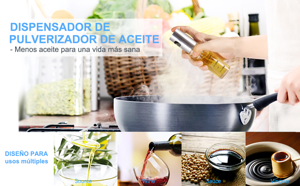 Pulverizador Spray Oliva Aceite, Homegoo Rociando Pulverizador de Botella de Aceite Vidrio de Grado Alimenticio Recargable Botella de Rociador de ...