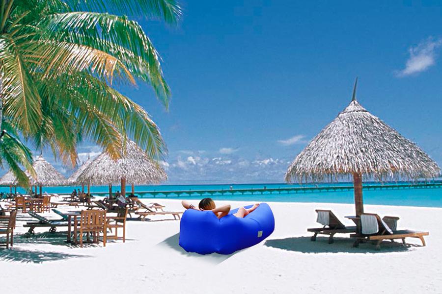 IREGRO Sofa Hinchable con Almohada integrada y Bolsa, portátil Impermeable Ligero poliéster Aire sofá Inflable ocioso, Aire Cama Tumbona de Playa para ...