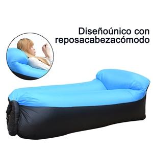 IREGRO Sofa Hinchable Tumbona Inflable Cama con Almohada integrada, portátil Impermeable 210T Poliester Aire sofá Inflable Sillón, Tumbona de Playa ...