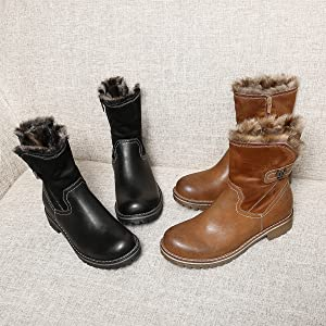 gracosy Botas Nieve Mujer Plano Otoño Invierno Urbano Suave Cómodo Pieles Estilo Clásico Botas Altas Mantener Caliente Peludo Talón Plano Marrón Negro