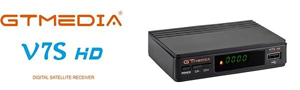 GT MEDIA V7S HD Receptor Satélite DVB-S/S2 Decodificador de TV por Satelite con Antena WiFi USB, 1080P Full HD Soporte PVR CCcam Youtube Astra 19.2E ...