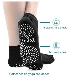 PUTUO Mujer Calcetines Pilates Yoga Antideslizantes, Mujer Cinco Calcetines de los Dedos para Pilates Yoga Danza Gimnasio Deportes Artes Marciales, 4 ...