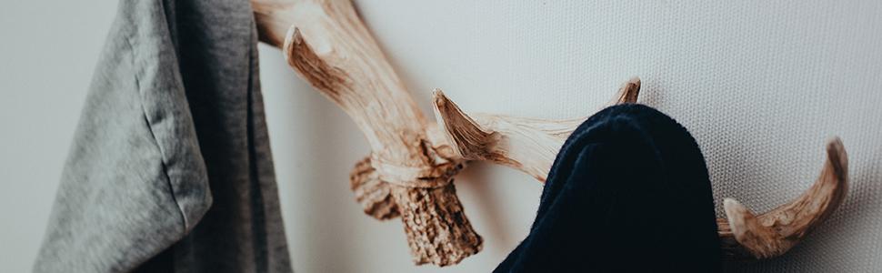 Hansmeier Ciervo Colgador Perchero - Retro-Blanco - 49 cm – Cornamenta para la Pared - Decoración de Gancho y Pared multipropósito de venado - Alta ...