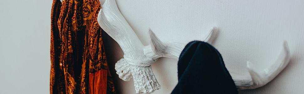 Hansmeier Perchero en Diseño de los Cuernos de Ciervo - Cornamenta Mural Decoración de Pared y Gancho Antler - Blanco