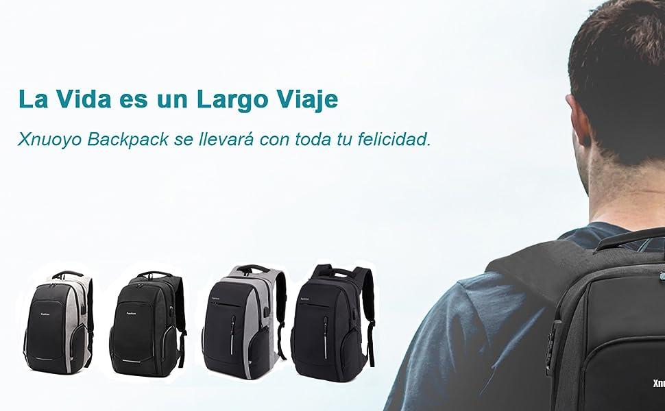 Xnuoyo Mochila Antirrobo, Resistente al Agua con el Puerto de Carga y Auriculares USB