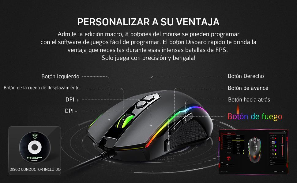 PICTEK 2019 nuevo ratón gaming con agarre cómodo y mejor configuración. El botón de fuego adicional te ofrecerá más oportunidades de ganar el juego.