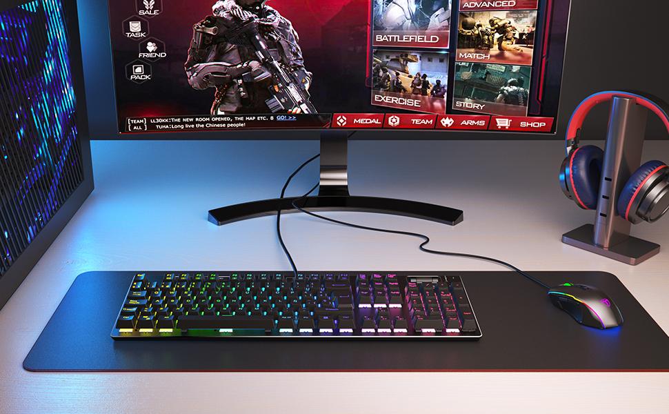 PICTEK Teclado mecánico gaming, 19 teclas anti-fantasma, teclado con cable para juegos con retroiluminación ajustable, interruptores de teclas rojas, ...
